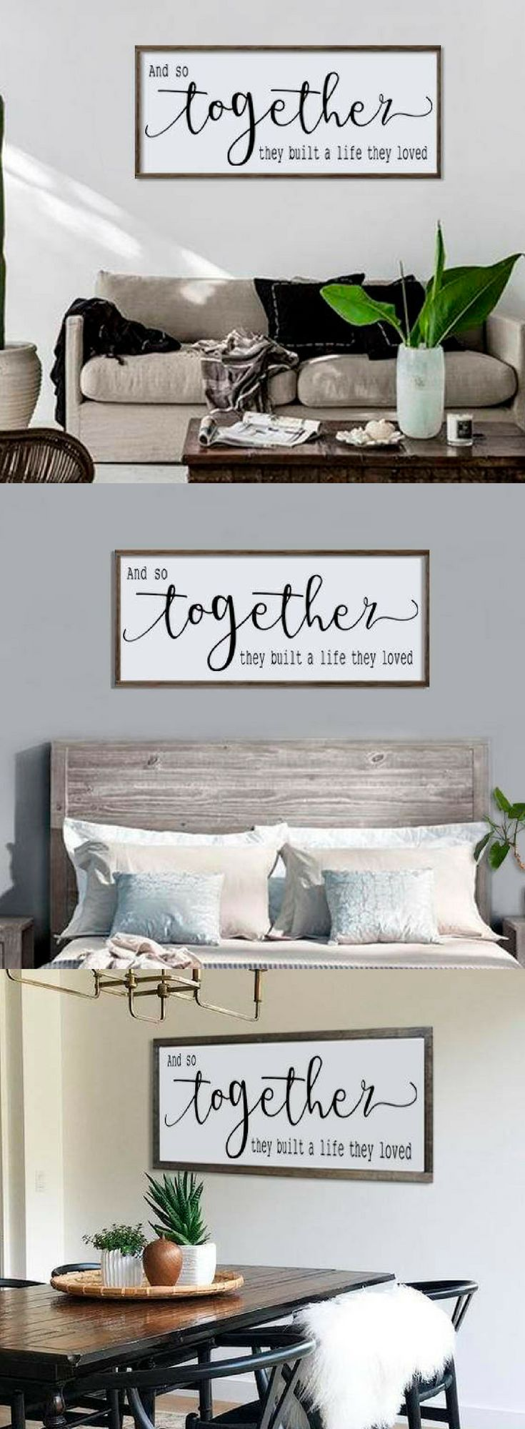 And So Together, They Built A Life They Loved Wood Sign, Large Framed Sign, Bedroom Wall Art, Couples Sign, Farmhouse Style Sign, Love Decor #ad #rustic #rusticdecor #rusticfarmhouse #farmhouse #farmhousestyle #farmhousebedroom #woodsigns #wooden