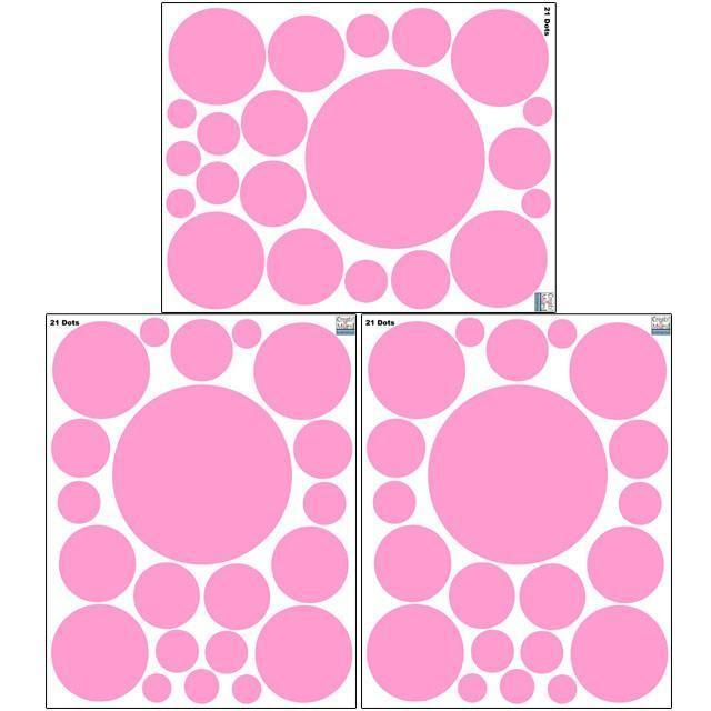 """Pretty Pink Wall Dot Decals ~Design a pretty in pink girls polka dotted theme bedroom. It will take just minutes. Easy Peel & Stick Polka Dot Decals- pre-cut, self-adhesive, removable pops of pink stickers- great for girls room decor. (1) 11"""" quality vinyl sheet of dot decals app (21) dots in all -ranging from 1""""- 7"""". Look at the three pink polka dot wall stickers too: http://www.create-a-mural.com/polka-dot-decals-three-pinks-wall-stickers/"""