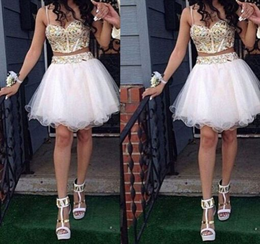 White Homecoming Dress,2 Piece Homecoming Dresses,Beading Homecoming Gowns,Short Prom Gown,White Sweet 16 Dress,Cute Prom Dress