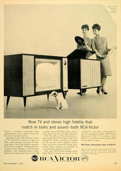 This is an original 1959 black and white print ad for RCA Victor Top Quality Home Entertainment Center. This Mark XXII Victrola entertainment center has a TV an