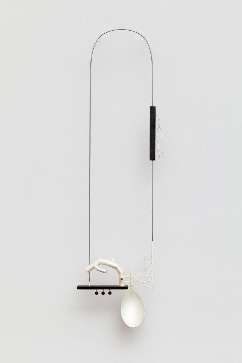 KATJA PRINS-NL necklace Inter-Act, 2011 | silver, reconstructed onyx, steel | ± 55 x 10 x 2 cm