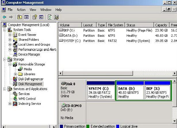 Disk Management, tipuri de partitii, discuri logice, partitii active