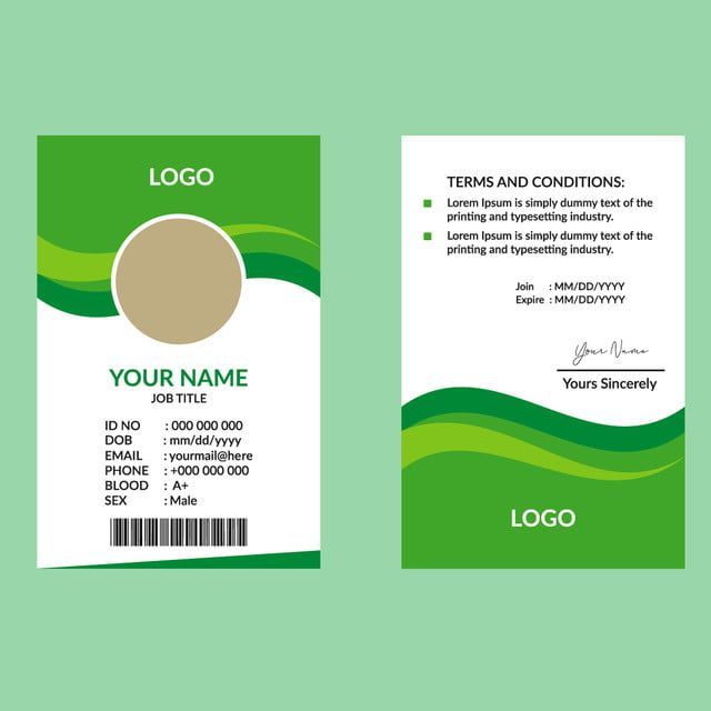 الأخضر قالب بطاقة هوية رسمية Id Card Template Business Card Template Psd Card Template