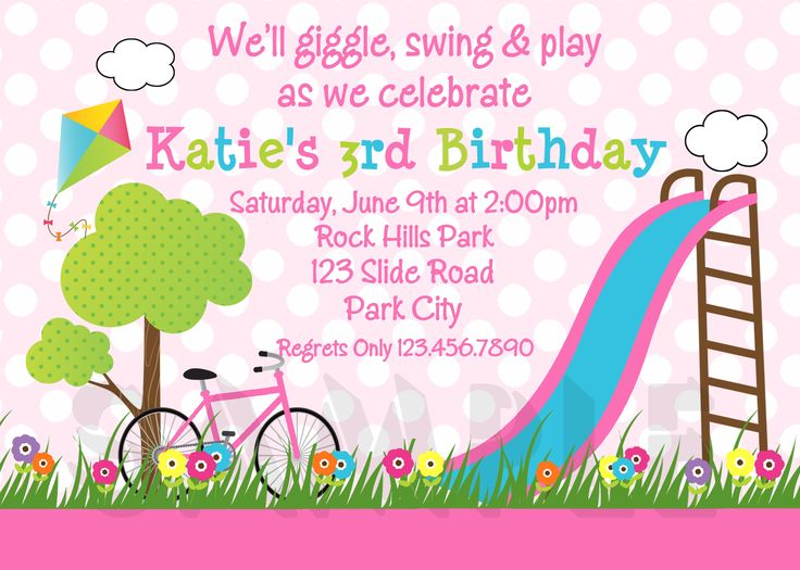 7 best 3 year old girl party images on pinterest birthdays girl girls park birthday party invitation stopboris Images