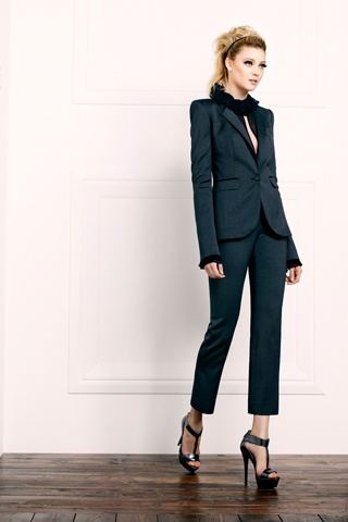 Addison Ruffle Blouse.  Hutton Tuxedo Jacket.  Byron Cropped Pant.  Denise Platform Sandal. Perfect...just add Nico Clutch in Black <3<3<3   #ZoeCityChic
