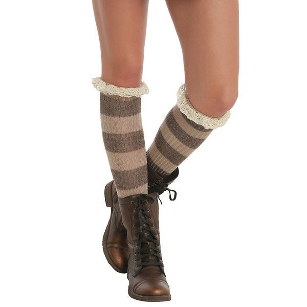 LOVEsick Stripe Scrunch Knee-High Socks Hot Topic ($8.50) ❤ liked on Polyvore featuring intimates, hosiery, socks, acrylic socks, knee socks, striped knee socks, striped socks and striped knee high socks