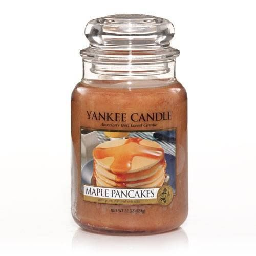 Yankee Candle Maple Pancakes : Like sunshine on a country morning, this pure, buttery sweet maple aroma warms the heart and soul.