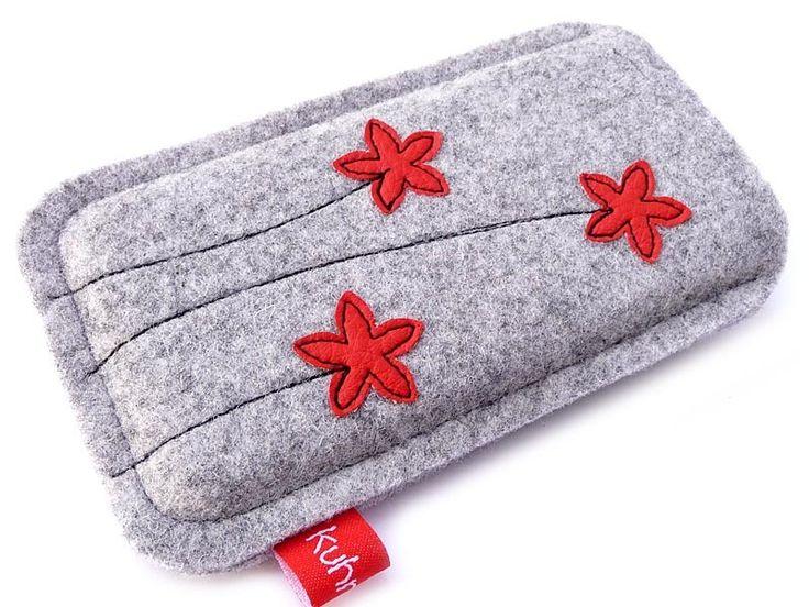 """Handytasche """"Tri-Fleurette"""" rot (iPhone 5) von Kuhrinna auf DaWanda.com"""