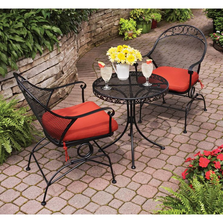 Patio Bistro Set 3 Piece Black Metal Red Cushions Pool Yard Outdoor  Furniture