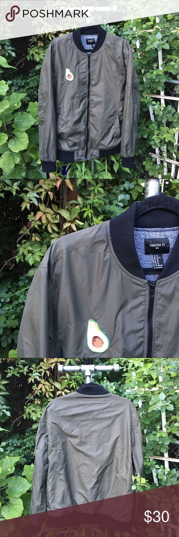 Forever 21 Avocado 🥑 Bomber (Men's XL) Men's Bomber Jacket (Forever 21) with custom Avocado patch on right side. Patch is ironed-on and sewn-on. Size XL and color is green. Great condition! Super cool trendy jacket for any occasion. One of a kind, so avocadon't miss out on this jacket!!! 🥑🥑🥑 Forever 21 Jackets & Coats Bomber & Varsity