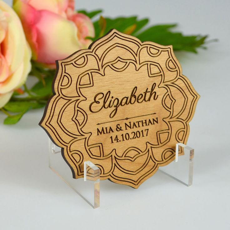 30x Engraved Wooden Wedding Flower Placecards with Magnet & FREE Stand. - Free Artwork with unlimited revisions. - Decoration: Engraved Invite / Printed wishing well and RSVP cards. We specialise in laser engraving and create a range of bespoke products made from a variety of materials such as wood, acrylic, glass and metal.   eBay!