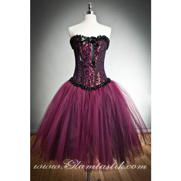 Custom size black and maroon tulle Burlesque Corset Prom dress tea... ($285) ❤ liked on Polyvore featuring dresses, black bridal gowns, black tie gowns, bridal corset, maroon prom dresses and bridal gowns