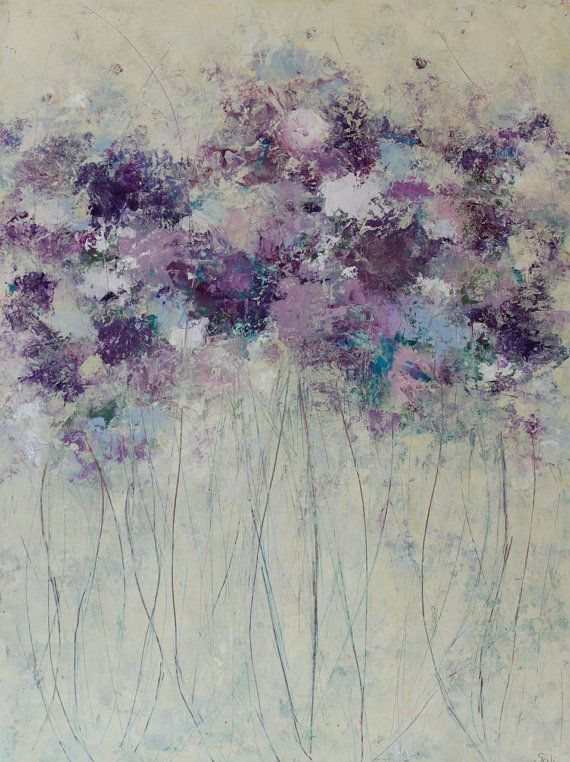 Original Painting Abstract Floral Bouquet Oil Cold Wax 24 x 18   Prelude Swalla Studio
