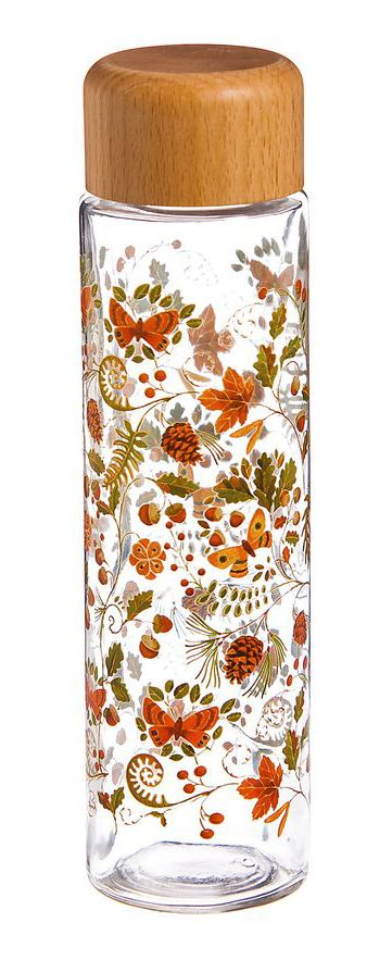 Glass + Wood Natural Floral Print Water Bottle