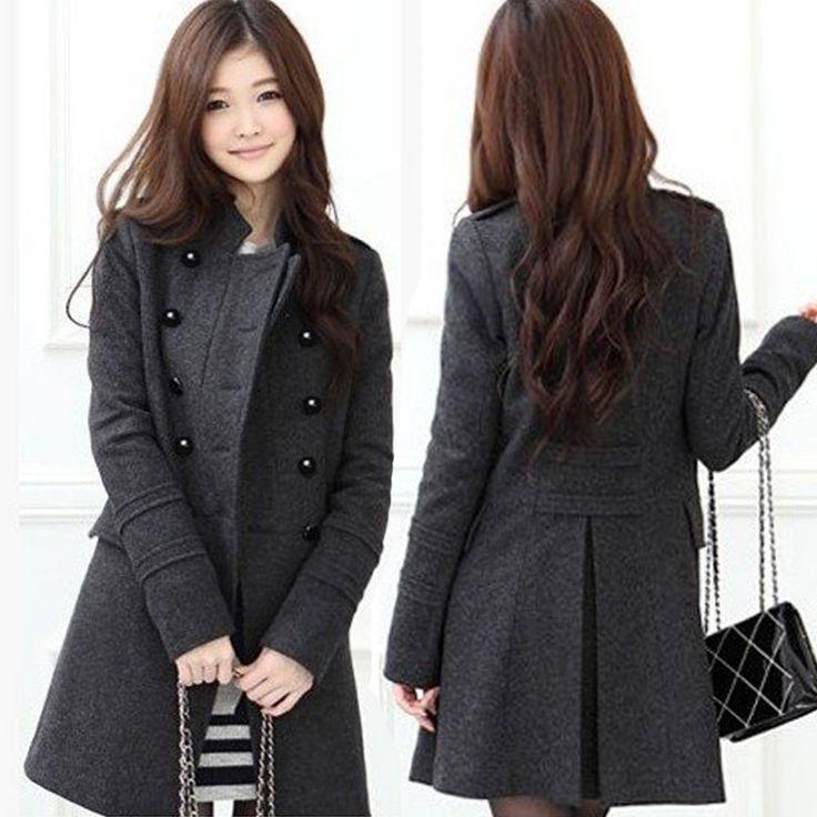 Caliente de moda coreano para mujer slim doble- botonadura de lana de invierno…