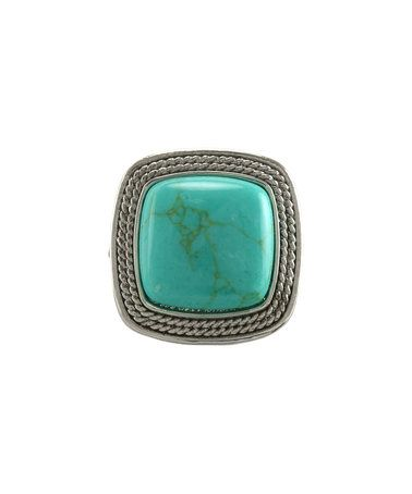 Another great find on #zulily! Silvertone & Turquoise Cushion-Cut Ring #zulilyfinds
