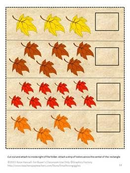 Falling Autumn Leaves-Pre-K, K, Special Education- What can be more fun in the fall for children then playing in the falling leaves. This Falling Autumn Leaves File Folder Games contains 29 pages and make 6 file folder games. The colorful fall graphics used in these games allow the students to have fun with leaves while learning.  Falling Autumn Leaves consists of the following: 1. Color Matching 2. Letter Matching  3. Counting 4. Making a Pattern 5. Sorting by Size 6. Shape Matching