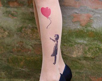 Tatouage-chaussettes, colorée fille avec ballon réaliste la recherche tatouage collants, tatouage, tatouent de chaussettes