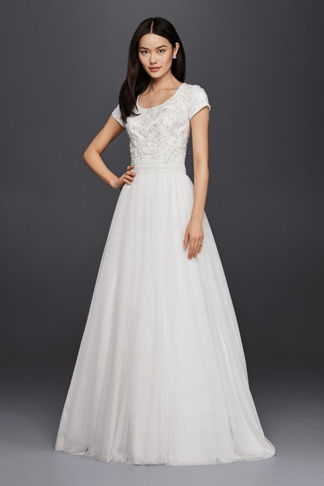 Trendy Modest Short Sleeve A Line Wedding Dress Style SLWG