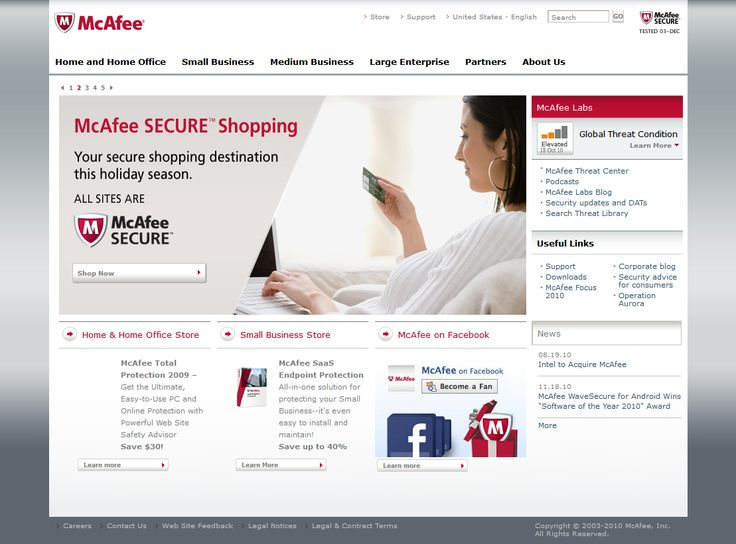 McAfee website in 2010