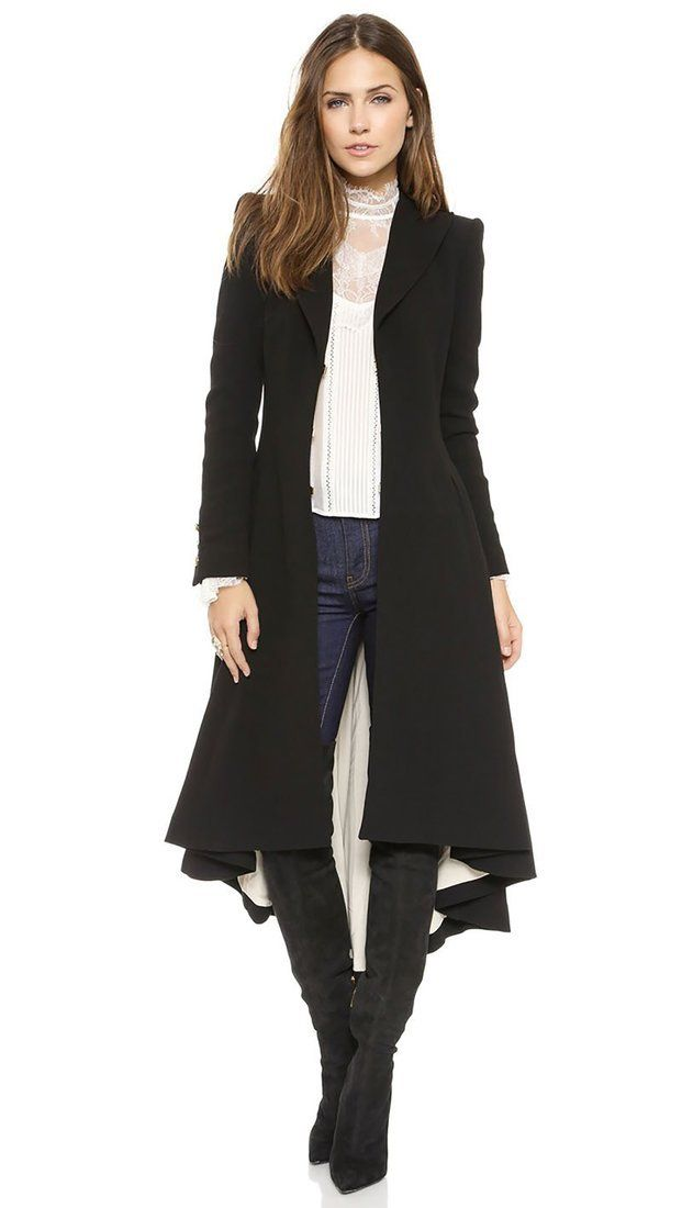 Women's Dress Coat Swallowtail Wool Long Trench Slim Plus Size Goth for Autumn Winter Women's Dress Coat Swallowtail Wool Long Trench Slim Plus Size Goth for Autumn Winter 1