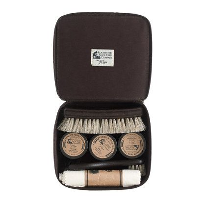 You invested your hard-earned cash in a good pair of shoes—now make sure you keep them looking their best. We partnered with the fine folks at the Rochester Shoe Tree Company to put together this shoe care kit that includes everything you'll need to keep your shoes looking sharp. In it you'll find: black, brown and neutral polish, two horsehair daubers (for applying polish), a horsehair brush and a polishing cloth to make your shoes as shiny as they were the day you first put them on. ...