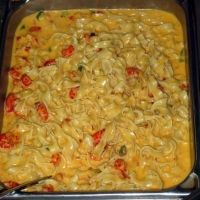 Crawfish Fettuccine...made mine with pepper jack cheese...next time will use the Velvetta.  It would be creamier.  Yummy :)