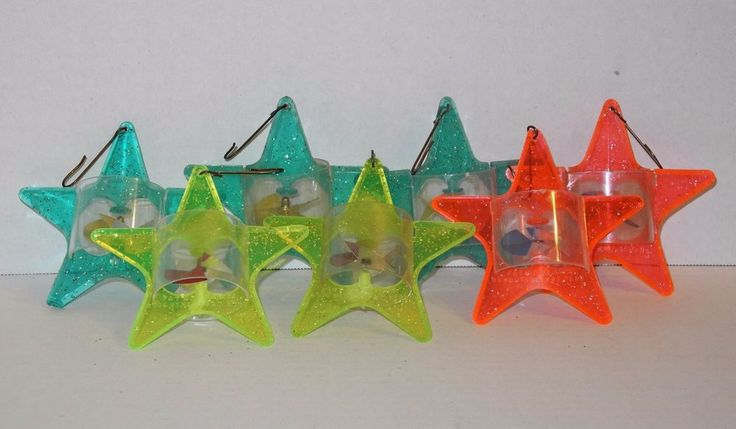 7 Vintage Tinkle Toy Christmas Tree Ornaments Spinners Twinklers Star Green  #TinkleToy
