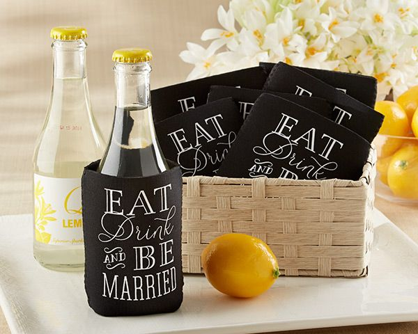 """Eat, Drink & Be Married Collapsible Koozie - Wedding Favors by Kate Aspen #celebratewithkate and Pin to Win!  How to enter: 1) Click through to fill out the form 2) Follow @kateaspen on Pinterest 3) Pin your favorite entertaining decor, favors, and ideas with inspiration from our """"Celebrate with Kate Aspen"""" board  kateaspen.com http://sweeps.piqora.com/kateaspen"""
