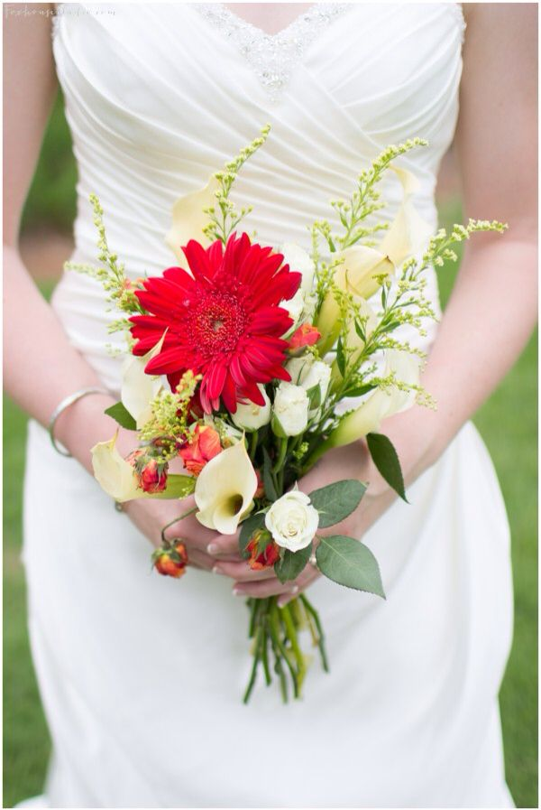 Very Pretty Bridal Bouquet With A Somewhat Rustic Feel Red Gerbera Daisy Spray Rose Buds White Calla Lilies Roses Yellow Solidago Green