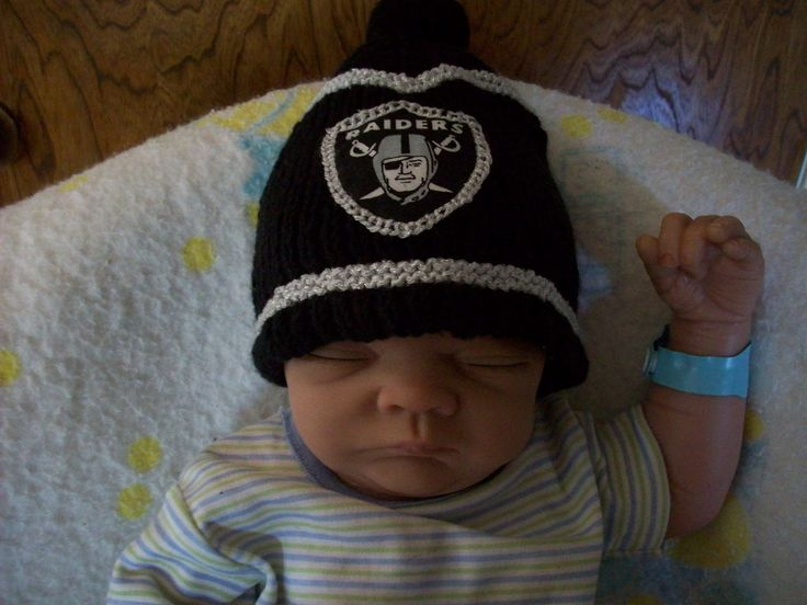 NFL OAKLAND RAIDERS Custom Handmade knit Baby Hat in Raiders Team Colors. $25.99, via Etsy.  Inspiration pic for my friend Glenn, a gift from his wife Sabrina.