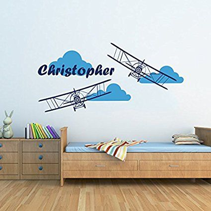 Superb Pilotenzimmer Flugzeug Wand Aufkleber u Wolken Name Vinyl Aufkleber Personalisierte Custom Name Doppeldecker Wolken