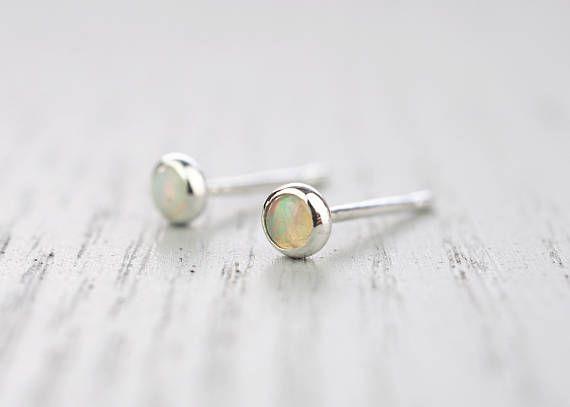 Opal Studs Opal earrings Opal jewelry Real Opal Dainty Opal