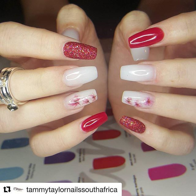 #Repost @tammytaylornailssouthafrica with @repostapp ・・・ Tammy Taylor Products *Early Christmas Nails #christmasnails using  Cherry Pie Dazzlerocks (Limited edition)  Dark Red Prizma acrylic  Improved Original (W) Milky White Acrylic  And Tammy Taylor Sup