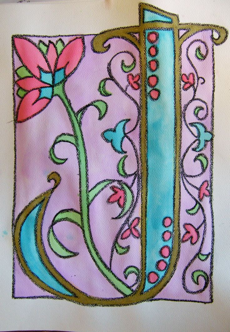 I liked this illuminated letter because it showed how to use water colors.  I also liked this example because it shows a common theme and color palette used consistently through the entire drawing.