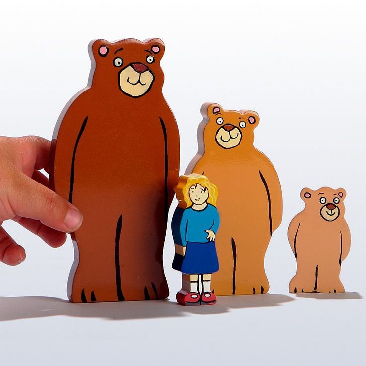 Goldilocks wooden characters/figures for block play are idea for bringing the story of Goldilocks and the Three Bears to life. Ideal for early childhood, pre-K, kindergarten and 1st grade children. $14.95