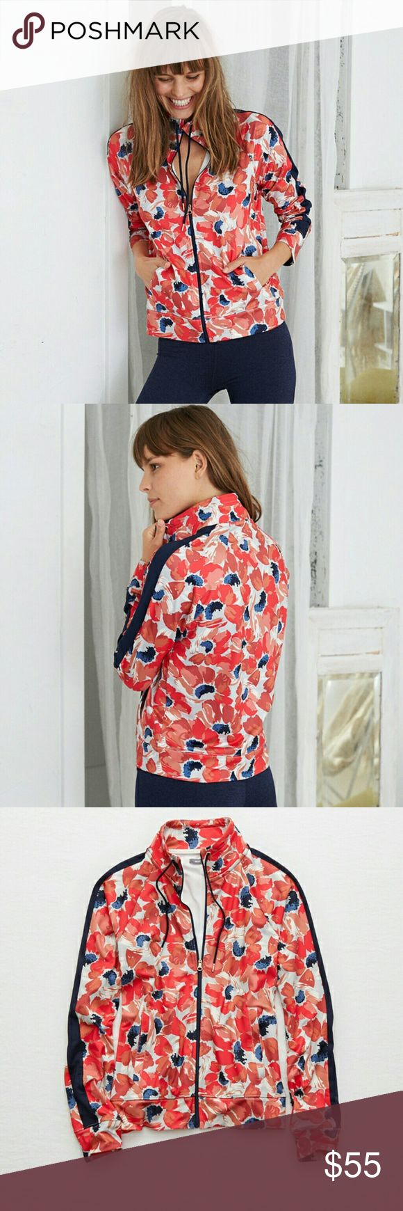 NWT Floral Aerie Track Jacket This jacket is no longer being sold online or in store's. This was a popular aerie jacket for years.  The floral designs on this jacket are vibrant and stands out , paired up with jeans or sweatpants it really brings your outfit up another level.  86% Polyester, 14% Elastane   Thanks for stopping by!   🍃Offers are welcomed through the offer button 🍃I am also not interested in trades at the moment  📷INSTAGRAM @ayysaki aerie Jackets & Coats