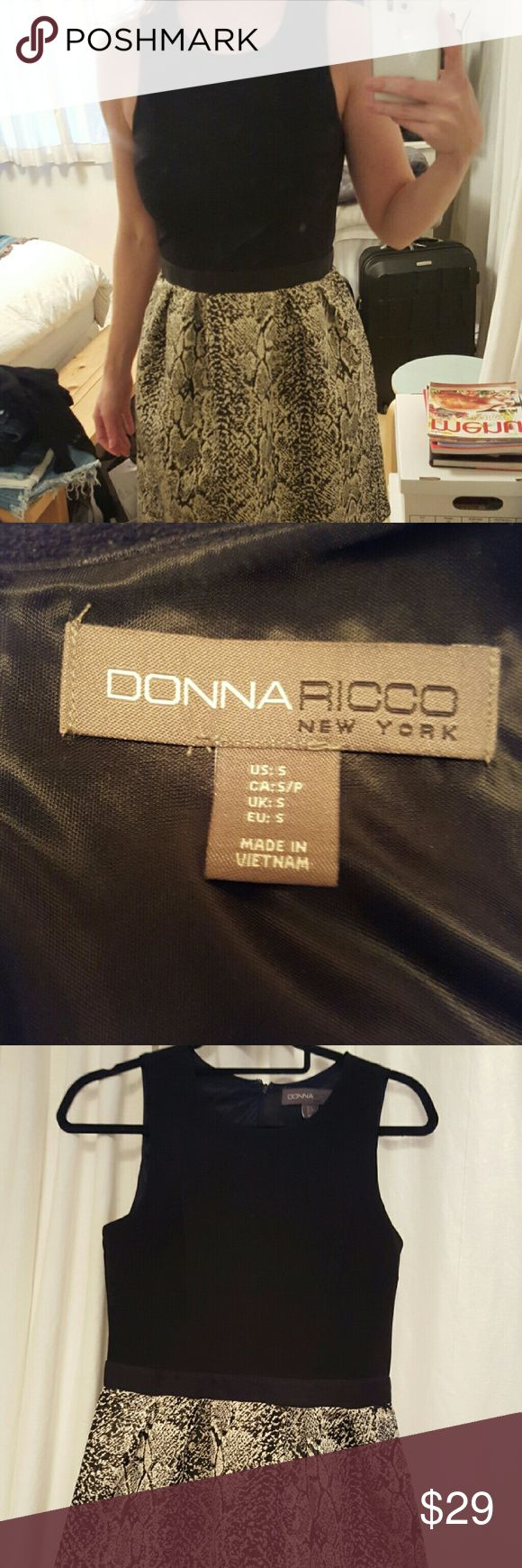 Donna Ricco New York Dress Black spandex type top with gold metallic snake skin print bottom Donna Ricco Dresses Mini