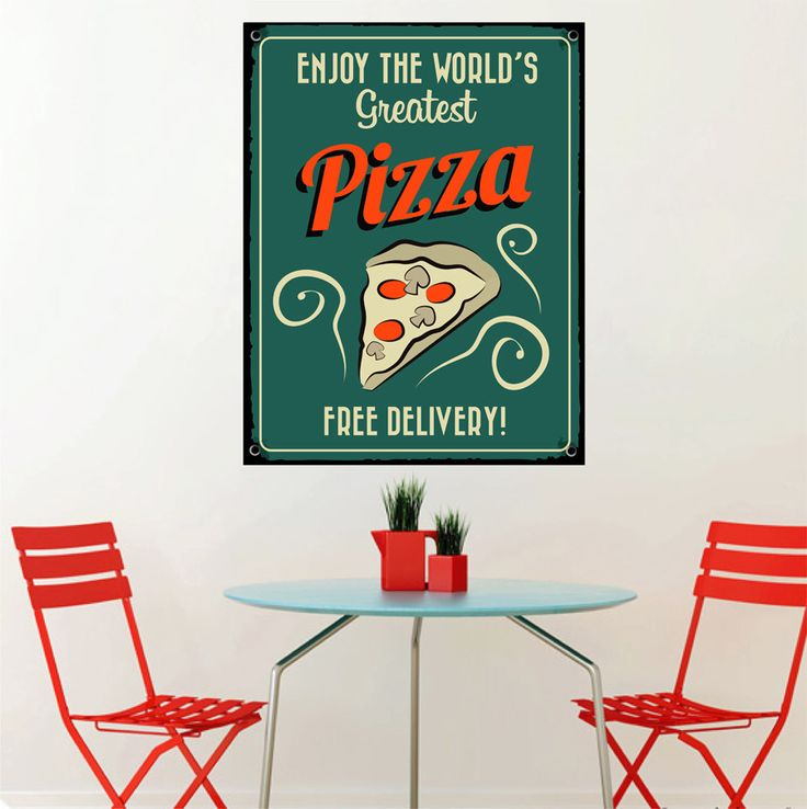 cik1447 Full Color Wall decal free pizza delivery Italian restaurant Pizzeria stained glass