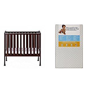 #7: Dream On Me 2 in 1 Portable Folding Stationary Side Crib with Dream On Me 3 Portable Crib Mattress White