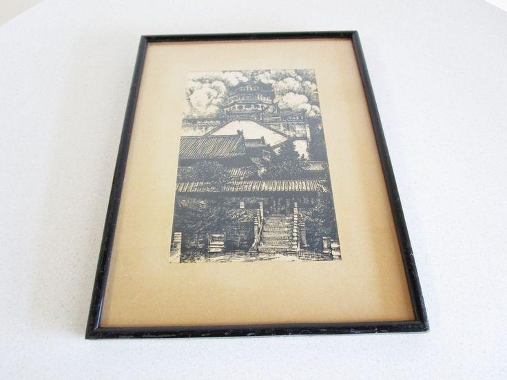 Pagoda Heavy Black Ink woodblock print Asian Framed Village Scene Vintage  #Asian