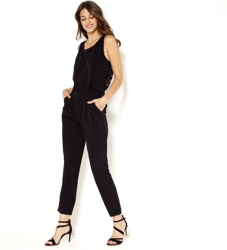 Combinaison pantalon dos dentelle noire Camaïeu 2017