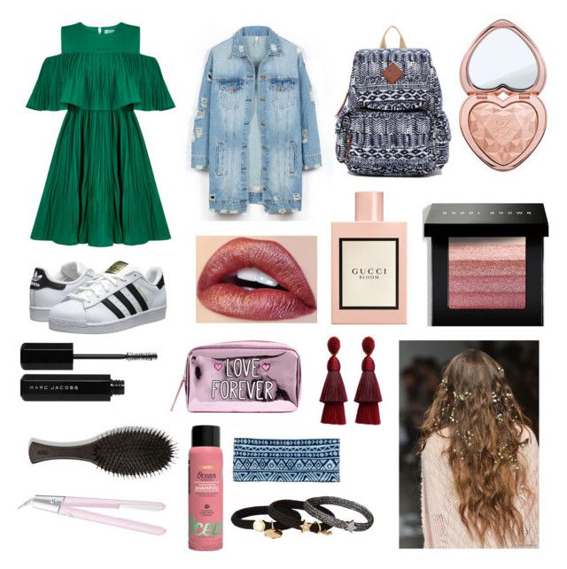 """Summer outfit🦄"" by emmina-1 on Polyvore featuring Jovonna, LE3NO, adidas Originals, Madden Girl, Gucci, Too Faced Cosmetics, Marc Jacobs, Bobbi Brown Cosmetics, Oscar de la Renta e Oribe"
