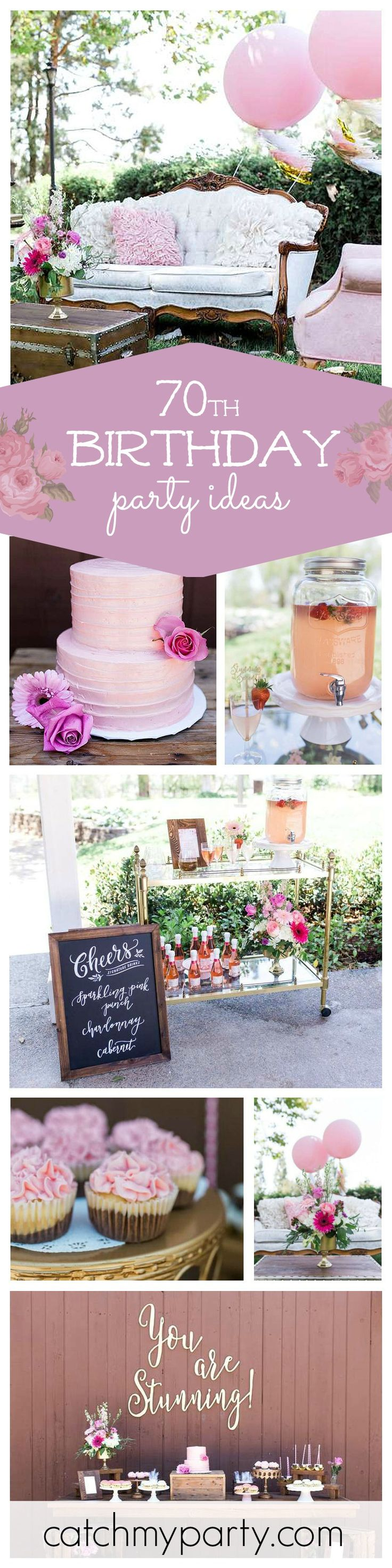A stunning 70th birthday garden party with so many ideas gorgeous ideas for hosting 'that' special party for a mom, mother-in-law, or grandmother! The cake is just simply gorgeous! See more party ideas at CatchMyParty.com