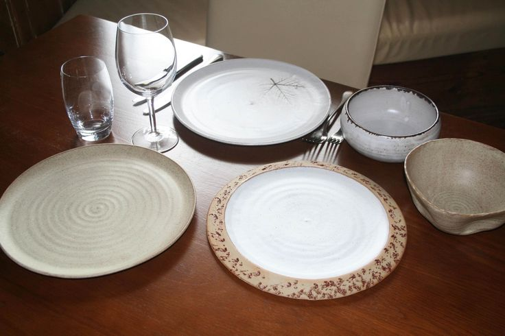 Aylesford Pottery in Kent - samples of tableware for The West House Restaurant, May 2015.