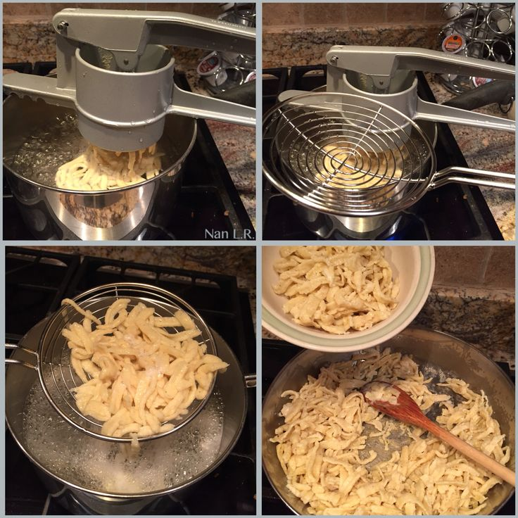 I hosted three Oktoberfest parties using inexpensive spätzle makers. They made beautiful spätzle but the plastic handle on both melted. I researched and decided on the Westmark Spätzle und kartoffelpresse  Press for noodles and potatoes AND the Kull Skimmer for Swabian Spaetzle/Pasta/Noodles. Both are made in Germany. I'm very pleased with both. The only negative is that some smaller spätzle noodles fall through the slots in the skimmer.