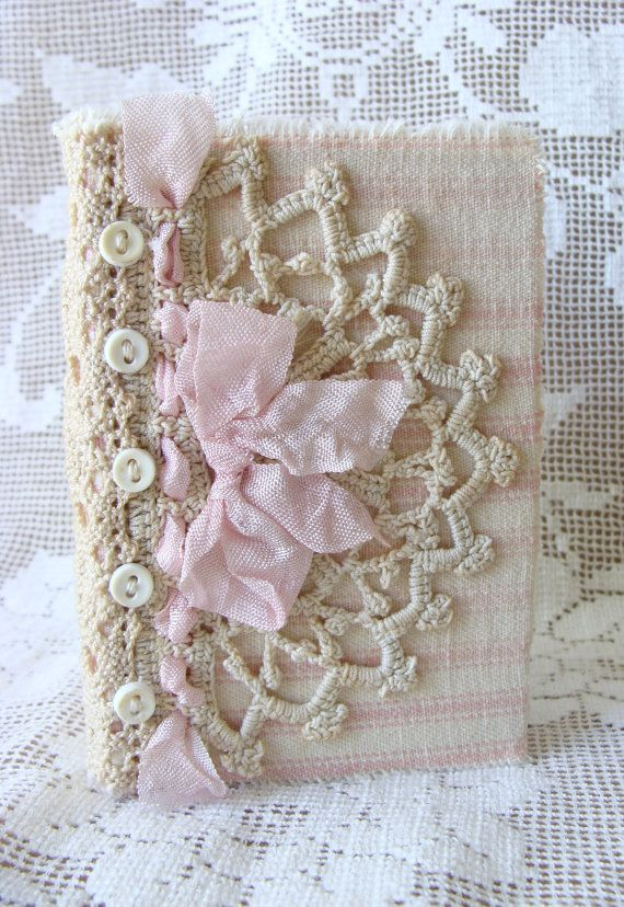 Shabby Vintage Chic Pink French Ticking Antique Lace Fabric Journal Diary NoteBook Hard Back Small Pocket Petite Journal
