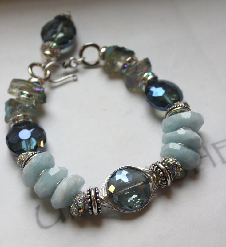 chunky charm bracelet, charm bracelet, statement bracelet, blue bracelet, aquamarine bracelet....