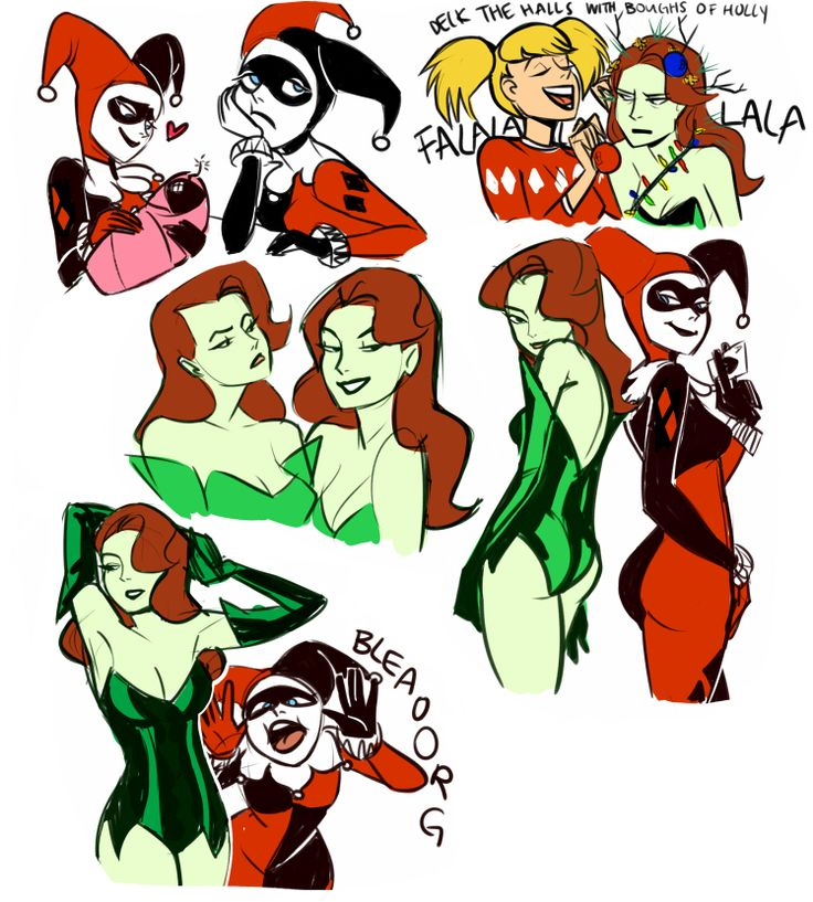 """""""some warmups starring harley quinn and poison ivy!  someday i'd like to do a comic of their shenanigans…"""""""