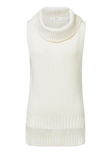 100% Cotton Roll Neck Knit. Comfortable sleeveless style features an oversized roll neck, dropped armhole and dipped hem. Available in Cream as shown.